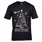 Premium Koolart Biker Motorbikes Deck The Halls Christmas Tree Novelty Cafe Racer Motif Xmas T-Shirt